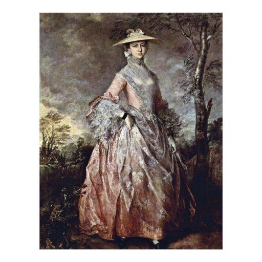 Retrato de la condesa Howe de Maria de Thomas Gain Tarjetón