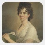 Retrato de la Constanza viuda Mozart, 1802 Colcomanias Cuadradas Personalizadas