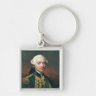 Retrato de la cuenta de Charles Enrique de Estaing Llavero Cuadrado Plateado