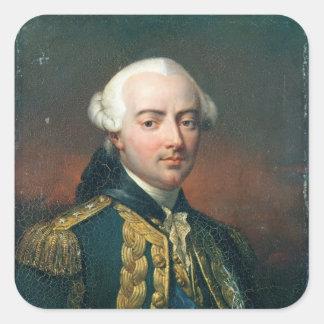 Retrato de la cuenta de Charles Enrique de Estaing Pegatina Cuadrada