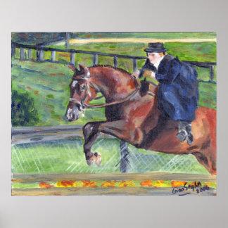 Retrato de la demostración del caballo de la silla póster