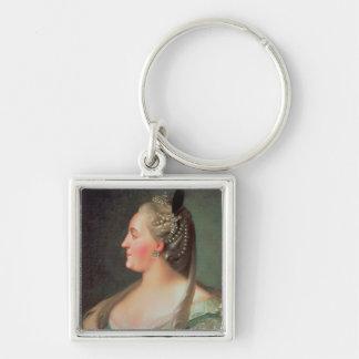 Retrato de la emperatriz Catherine II el grande Llavero Cuadrado Plateado