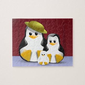 Retrato de la familia de los pingüinos rompecabeza