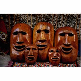 Retrato de la familia de máscaras escultura fotografica