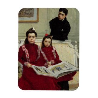 Retrato de la familia de un muchacho y sus dos Sis Imán De Vinilo