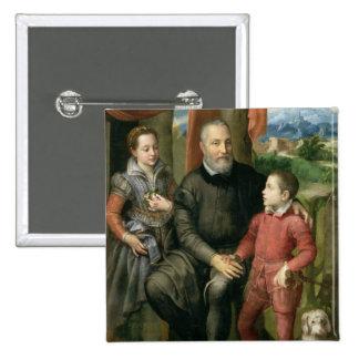 Retrato de la familia del artista, Minerva Pin Cuadrada 5 Cm