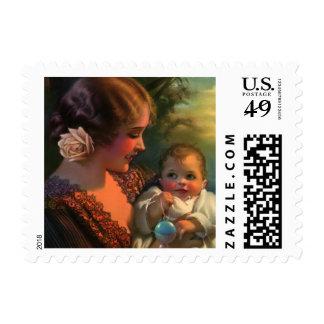 Retrato de la familia del día de madre del vintage sellos postales
