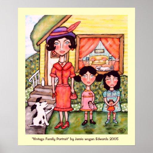Retrato de la familia del vintage poster