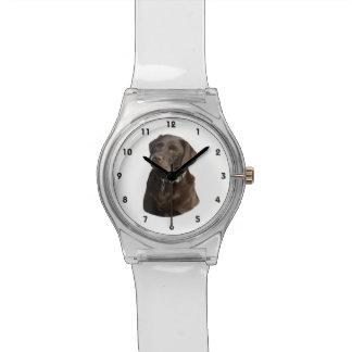 Retrato de la foto de Labrador del chocolate Relojes De Pulsera