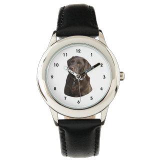 Retrato de la foto de Labrador del chocolate Relojes De Mano
