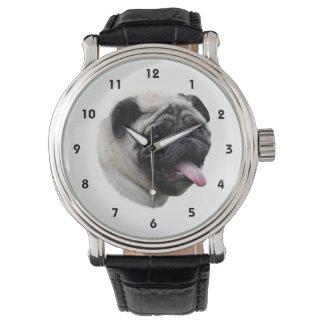 Retrato de la foto del mascota del perro del barro reloj de mano