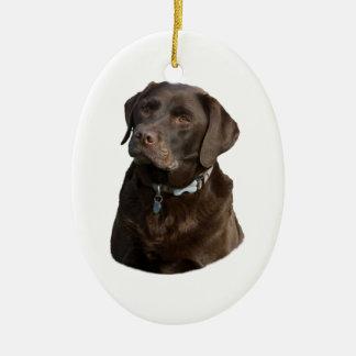 Retrato de la foto del perro de Labrador del Adorno Ovalado De Cerámica