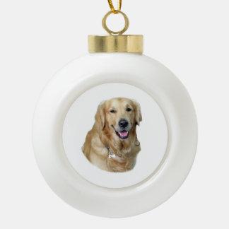 Retrato de la foto del perro del golden retriever adorno de cerámica en forma de bola