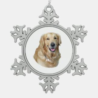 Retrato de la foto del perro del golden retriever adorno de peltre en forma de copo de nieve