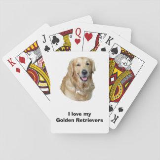 Retrato de la foto del perro del golden retriever cartas de juego