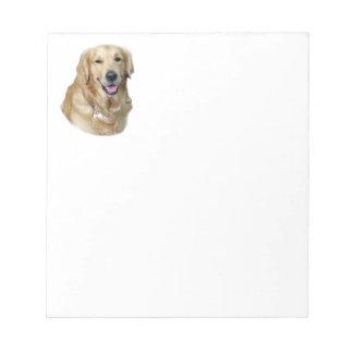 Retrato de la foto del perro del golden retriever bloc de papel