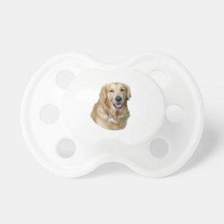 Retrato de la foto del perro del golden retriever chupetes para bebés