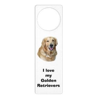 Retrato de la foto del perro del golden retriever colgantes para puertas