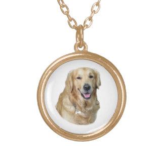 Retrato de la foto del perro del golden retriever collar dorado