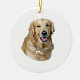 Retrato de la foto del perro del golden retriever adorno redondo de cerámica