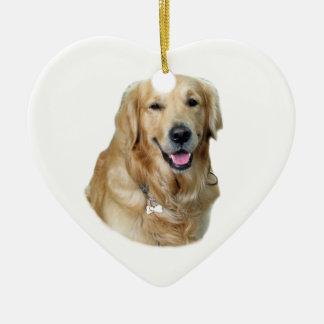 Retrato de la foto del perro del golden retriever adorno de cerámica en forma de corazón