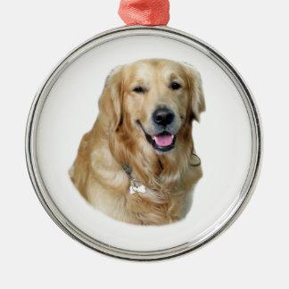 Retrato de la foto del perro del golden retriever adorno redondo plateado