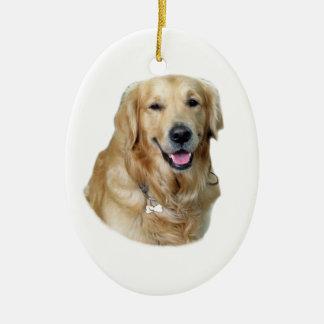 Retrato de la foto del perro del golden retriever adorno ovalado de cerámica
