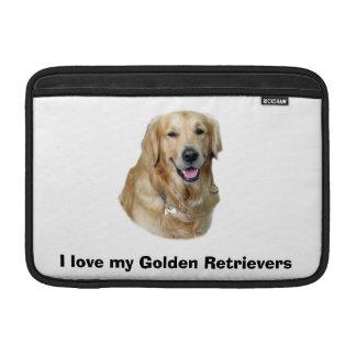 Retrato de la foto del perro del golden retriever funda macbook air