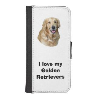 Retrato de la foto del perro del golden retriever fundas cartera para teléfono