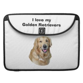 Retrato de la foto del perro del golden retriever fundas macbook pro