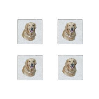Retrato de la foto del perro del golden retriever imán de piedra