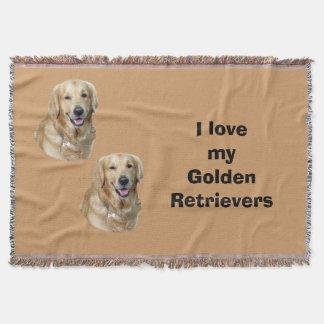Retrato de la foto del perro del golden retriever manta