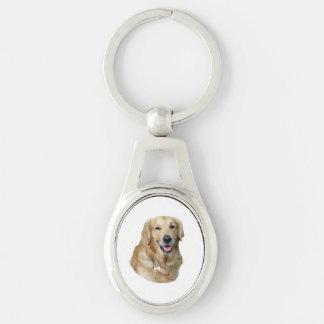 Retrato de la foto del perro del golden retriever llavero plateado ovalado