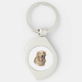 Retrato de la foto del perro del golden retriever llaveros
