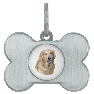 Retrato de la foto del perro del golden retriever placas de nombre de mascota