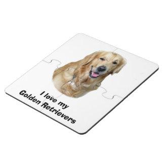 Retrato de la foto del perro del golden retriever posavasos de puzzle