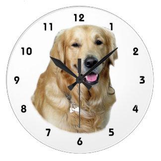 Retrato de la foto del perro del golden retriever reloj redondo grande