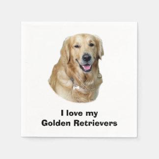 Retrato de la foto del perro del golden retriever servilleta de papel