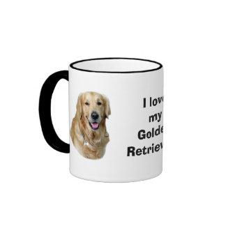 Retrato de la foto del perro del golden retriever taza de dos colores