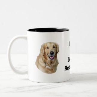 Retrato de la foto del perro del golden retriever taza de dos tonos