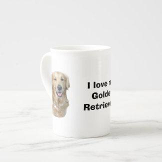 Retrato de la foto del perro del golden retriever taza de porcelana