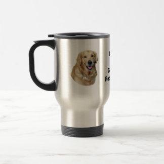 Retrato de la foto del perro del golden retriever taza de viaje