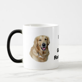 Retrato de la foto del perro del golden retriever taza mágica