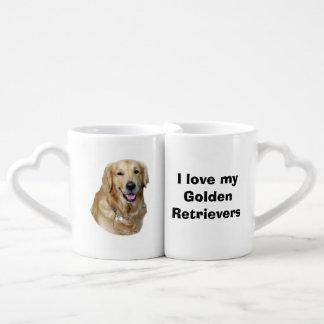 Retrato de la foto del perro del golden retriever tazas para enamorados
