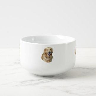 Retrato de la foto del perro del golden retriever tazón para sopa