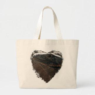 Retrato de la iguana bolsa tela grande
