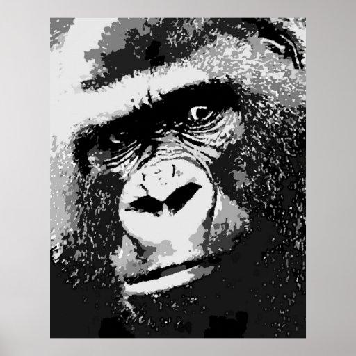 Retrato de la impresión del poster del gorila