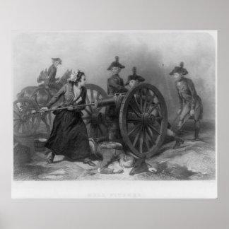 Retrato de la jarra de Molly que carga un cañón Póster