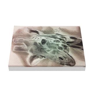 Retrato de la jirafa impresión en lienzo