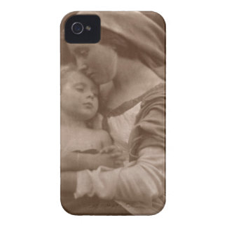 Retrato de la madre y del niño (foto de la sepia) iPhone 4 Case-Mate cobertura